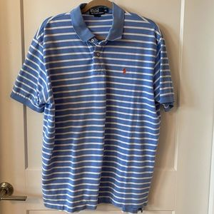 XL blue & white striped polo shirt